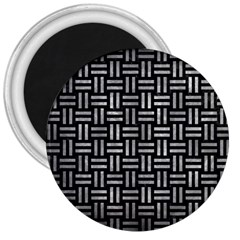 Woven1 Black Marble & Gray Metal 2 3  Magnets
