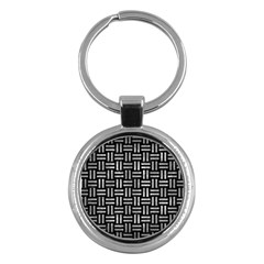 Woven1 Black Marble & Gray Metal 2 Key Chains (round)