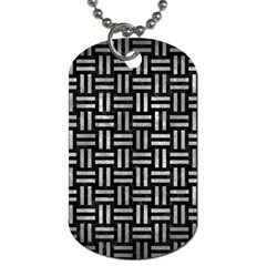 Woven1 Black Marble & Gray Metal 2 Dog Tag (one Side)