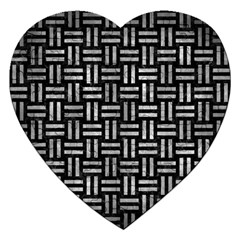 Woven1 Black Marble & Gray Metal 2 Jigsaw Puzzle (heart)
