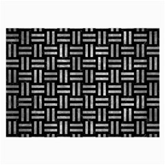 Woven1 Black Marble & Gray Metal 2 Large Glasses Cloth