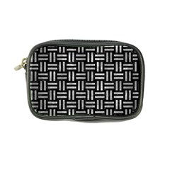 Woven1 Black Marble & Gray Metal 2 Coin Purse