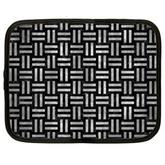 Woven1 Black Marble & Gray Metal 2 Netbook Case (xxl)
