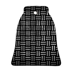Woven1 Black Marble & Gray Metal 2 Ornament (bell)