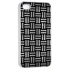 Woven1 Black Marble & Gray Metal 2 Apple Iphone 4/4s Seamless Case (white)