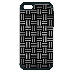 Woven1 Black Marble & Gray Metal 2 Apple Iphone 5 Hardshell Case (pc+silicone)