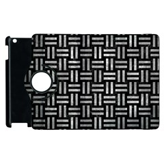 Woven1 Black Marble & Gray Metal 2 Apple Ipad 3/4 Flip 360 Case