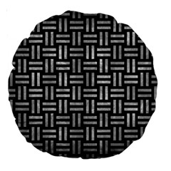 Woven1 Black Marble & Gray Metal 2 Large 18  Premium Round Cushions