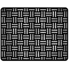 Woven1 Black Marble & Gray Metal 2 Double Sided Fleece Blanket (medium)