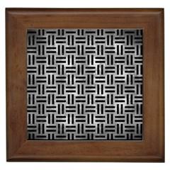 Woven1 Black Marble & Gray Metal 2 (r) Framed Tiles