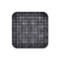 Woven1 Black Marble & Gray Metal 2 (r) Rubber Coaster (square)