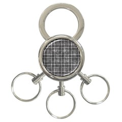 Woven1 Black Marble & Gray Metal 2 (r) 3 Ring Key Chains