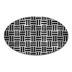 Woven1 Black Marble & Gray Metal 2 (r) Oval Magnet