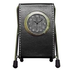 Woven1 Black Marble & Gray Metal 2 (r) Pen Holder Desk Clocks