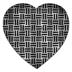 Woven1 Black Marble & Gray Metal 2 (r) Jigsaw Puzzle (heart)