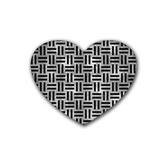 Woven1 Black Marble & Gray Metal 2 (r) Rubber Coaster (heart)