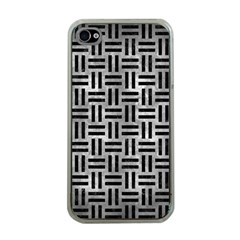 Woven1 Black Marble & Gray Metal 2 (r) Apple Iphone 4 Case (clear)