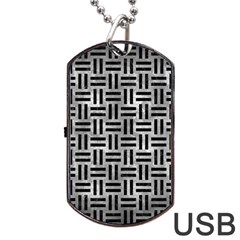 Woven1 Black Marble & Gray Metal 2 (r) Dog Tag Usb Flash (one Side)