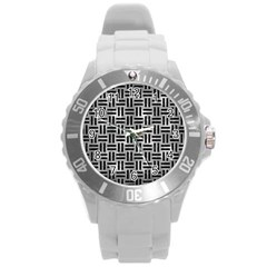 Woven1 Black Marble & Gray Metal 2 (r) Round Plastic Sport Watch (l)