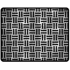 Woven1 Black Marble & Gray Metal 2 (r) Double Sided Fleece Blanket (medium)