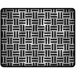 WOVEN1 BLACK MARBLE & GRAY METAL 2 (R) Double Sided Fleece Blanket (Medium)  60 x50 Blanket Back