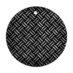 Woven2 Black Marble & Gray Metal 2 Ornament (round)