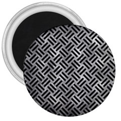 Woven2 Black Marble & Gray Metal 2 (r) 3  Magnets