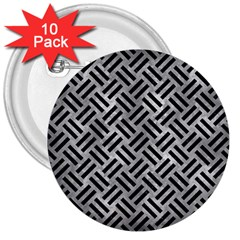 Woven2 Black Marble & Gray Metal 2 (r) 3  Buttons (10 Pack)