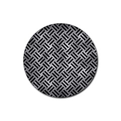 Woven2 Black Marble & Gray Metal 2 (r) Rubber Round Coaster (4 Pack)