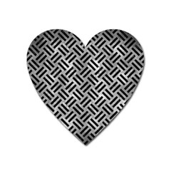 Woven2 Black Marble & Gray Metal 2 (r) Heart Magnet