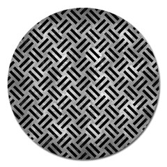 Woven2 Black Marble & Gray Metal 2 (r) Magnet 5  (round)