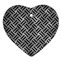 Woven2 Black Marble & Gray Metal 2 (r) Heart Ornament (two Sides)