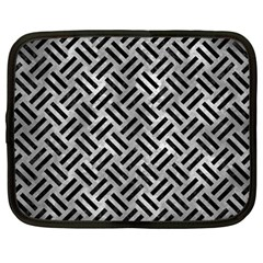 Woven2 Black Marble & Gray Metal 2 (r) Netbook Case (large)