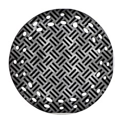 Woven2 Black Marble & Gray Metal 2 (r) Round Filigree Ornament (two Sides)