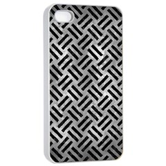 Woven2 Black Marble & Gray Metal 2 (r) Apple Iphone 4/4s Seamless Case (white)