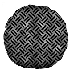 Woven2 Black Marble & Gray Metal 2 (r) Large 18  Premium Round Cushions