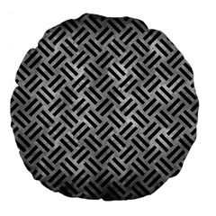 Woven2 Black Marble & Gray Metal 2 (r) Large 18  Premium Flano Round Cushions