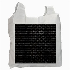 Brick1 Black Marble & Gray Stone Recycle Bag (one Side)