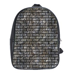 Brick1 Black Marble & Gray Stone (r) School Bag (large)
