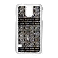 Brick1 Black Marble & Gray Stone (r) Samsung Galaxy S5 Case (white)
