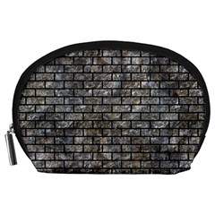 Brick1 Black Marble & Gray Stone (r) Accessory Pouches (large)