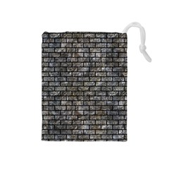Brick1 Black Marble & Gray Stone (r) Drawstring Pouches (medium)