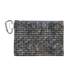 Brick1 Black Marble & Gray Stone (r) Canvas Cosmetic Bag (m)