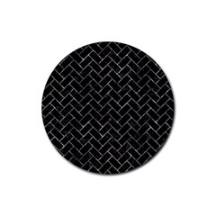 Brick2 Black Marble & Gray Stone Rubber Round Coaster (4 Pack)