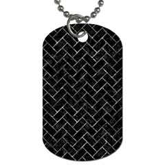 Brick2 Black Marble & Gray Stone Dog Tag (one Side)
