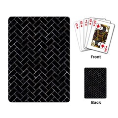 Brick2 Black Marble & Gray Stone Playing Card