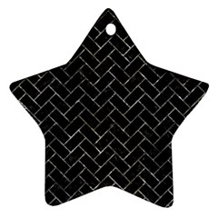 Brick2 Black Marble & Gray Stone Star Ornament (two Sides)