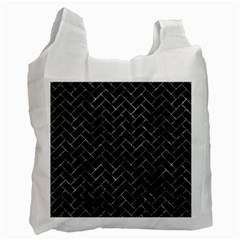 Brick2 Black Marble & Gray Stone Recycle Bag (one Side)