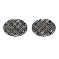 Brick2 Black Marble & Gray Stone (r) Cufflinks (oval)