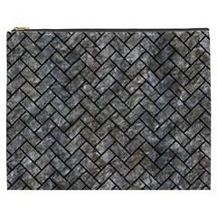 Brick2 Black Marble & Gray Stone (r) Cosmetic Bag (xxxl)